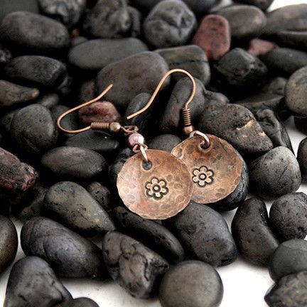 Flower - Hand Stamped Copper Earrings | Pretty Patina