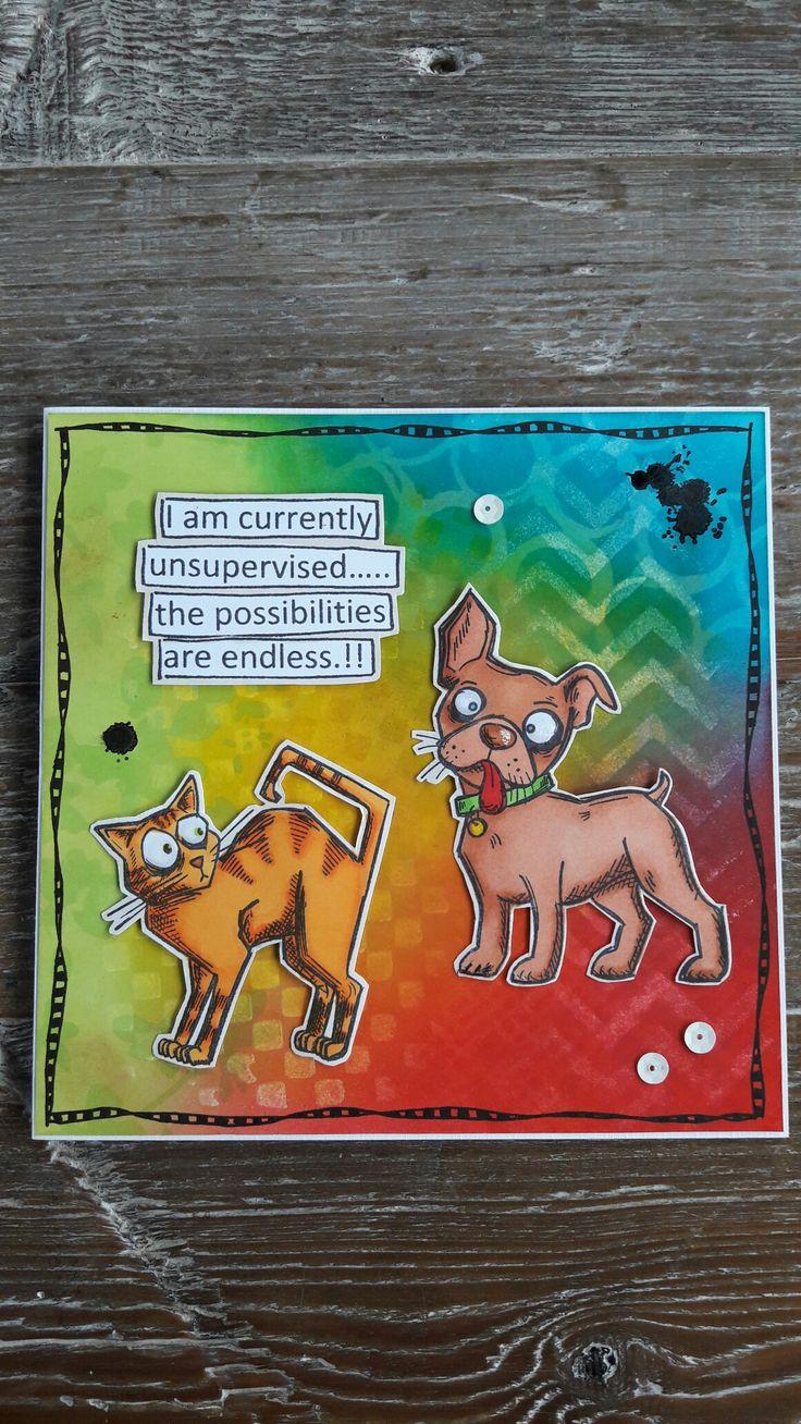 Kaartje met Distress achtergrond, Crazy Cat & Dogs stempels van Tim Holtz, gemaakt door Diana.