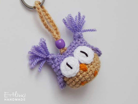 Handmade Keychain. Purple Owl. Crochet Bag Charm. Purple Gifts. Cute Girlfriend Gifts For Young Women Accessory Owl Keyring Girls Gifts