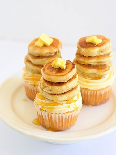 Maple pecan cupcakes topped with real golden-brown, fluffy flapjacks—essential for a brunch party!