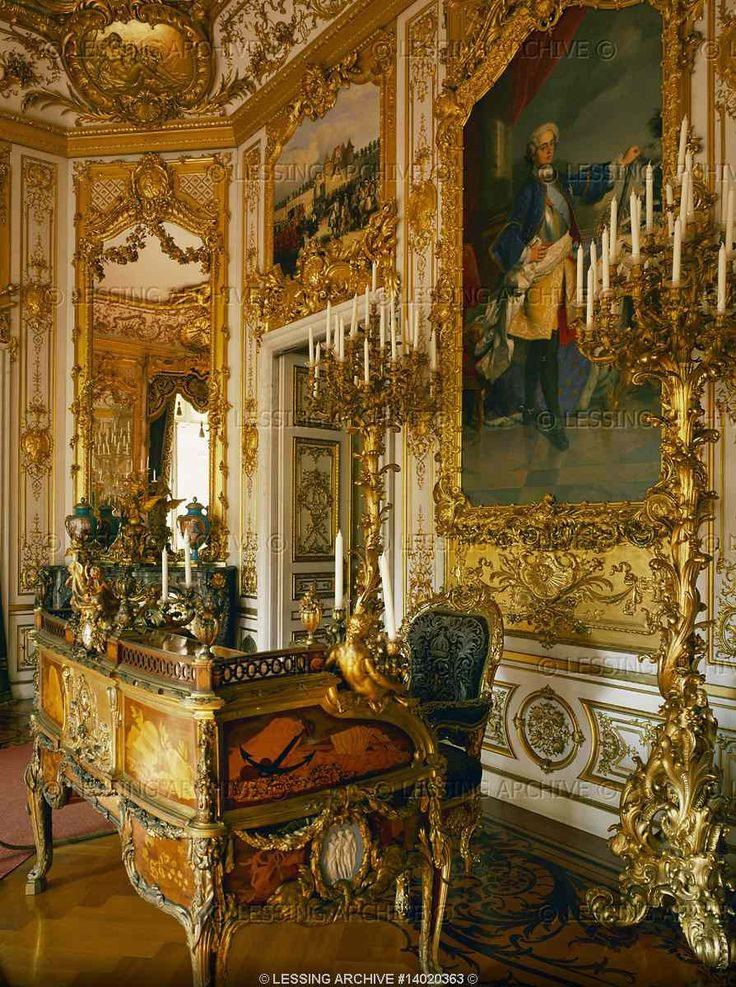 NEO-BAROQUE INTERIORS: Georg von Dollman Study of Ludwig II at Herrenchiemsee Palace, built 1879-1881 by order of Ludwig II of Bavaria in homage to Ludwig XIV on Herrenchiemsee Island in Chiemsee Lake, Bavaria.