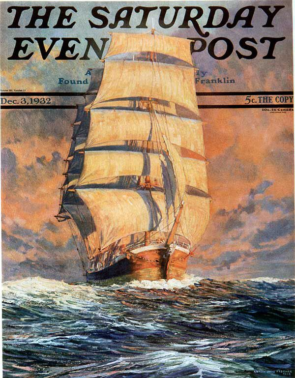Red Sky at Morning. Saturday Evening Post, December 3, 1932 (Anton Otto Fischer)