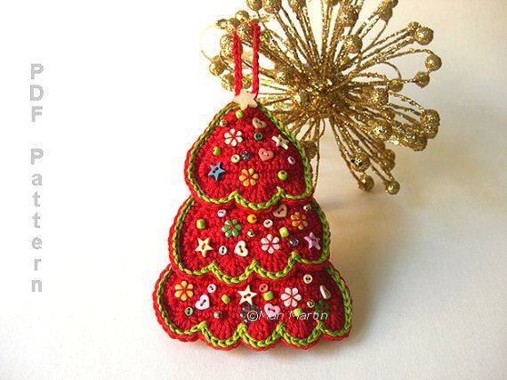 Crochet Christmas Tree Ornament Pattern $4.00 on Etsy at http://www.etsy.com/listing/152914335/crochet-christmas-tree-ornament-pattern