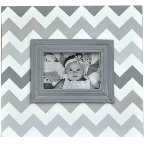 Ombre Chevron Picture Frame in Shades of Gray