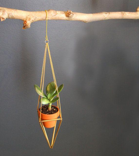 """Brass plant hanger- mini himmeli plant holder with pot - 12"""" Long - Finnish"""
