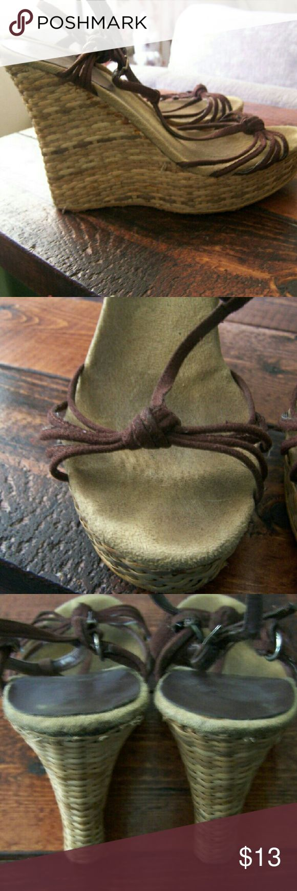 Colin Stuart Wedge Sandals Have some wear. Cat friendly home. Colin Stuart Shoes Wedges