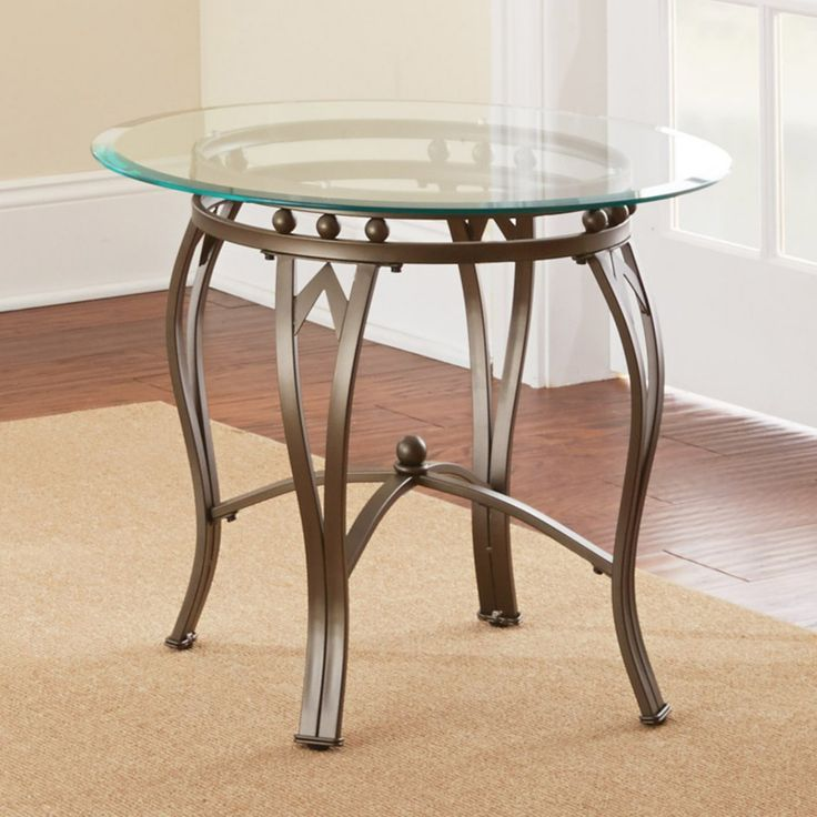 Steve Silver Madrid Round Pewter Metal End Table - SSC1213