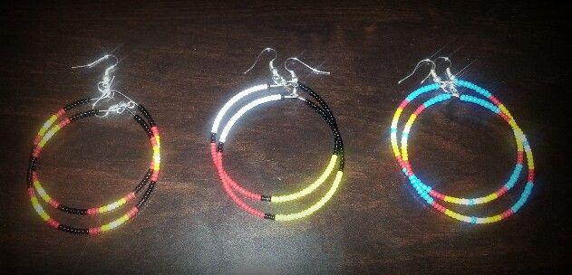 Native American beaded hoop earrings ♥ made by me.