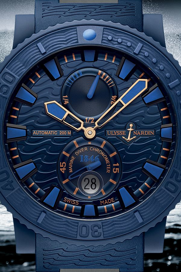 Ulysse Nardin Diver Blue Ocean. Embracing the rich seafaring heritage of Ulysse Nardin, the Diver line brings together the best of the brand's ocean-faring timepieces. #UlysseNardin #Diver #BlueOcean