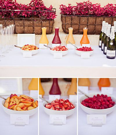 Bellini/Mimosa Bar: A cute idea for a casul, morning after send off brunch. Provide a variety of fruit purees and/or juices (I like peach, strawberry, orange & nopal), assorted fruits & top off with Cupcake Vinyards Prosecco.  #CupcakeDreamWedding