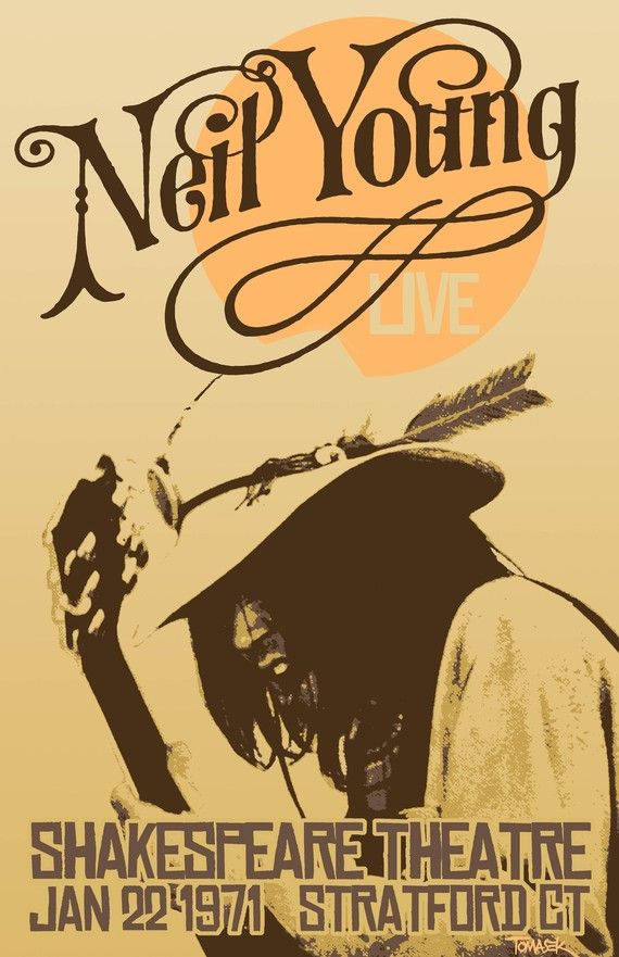 Neil Young 1971 Tour Poster van Tomasek - seventies affiche design