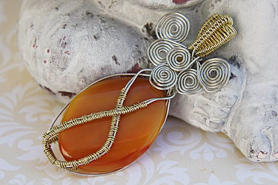 Amber Agate Pendant - Gold and Silver Wire Pendant - Amber Wire Wrapped Cabochon - Reversible Amber Pendant