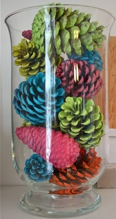 Decorate with Spray painted pinecones