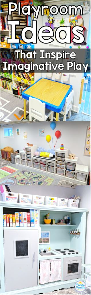 Basement playroom ideas that inspire imaginative play for toddlers, pre-schools, and elementary age kids!