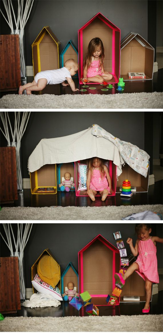 Cute cardboard box play with kids. DIY: Cardboard Houses