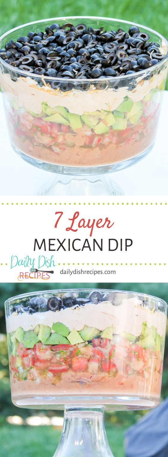 Layer upon layer of flavorful ingredients not only look beautiful but taste delicious too. This 7 Layer Mexican Dip Recipe is a huge hit at any party I make it for. via @dailydishrecipes