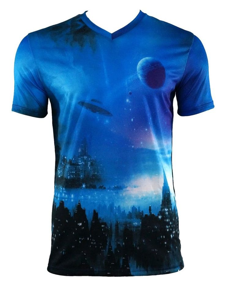 EPITOME Men's Sublimation City View and UFO V-Neck T-Shirt M-2XL