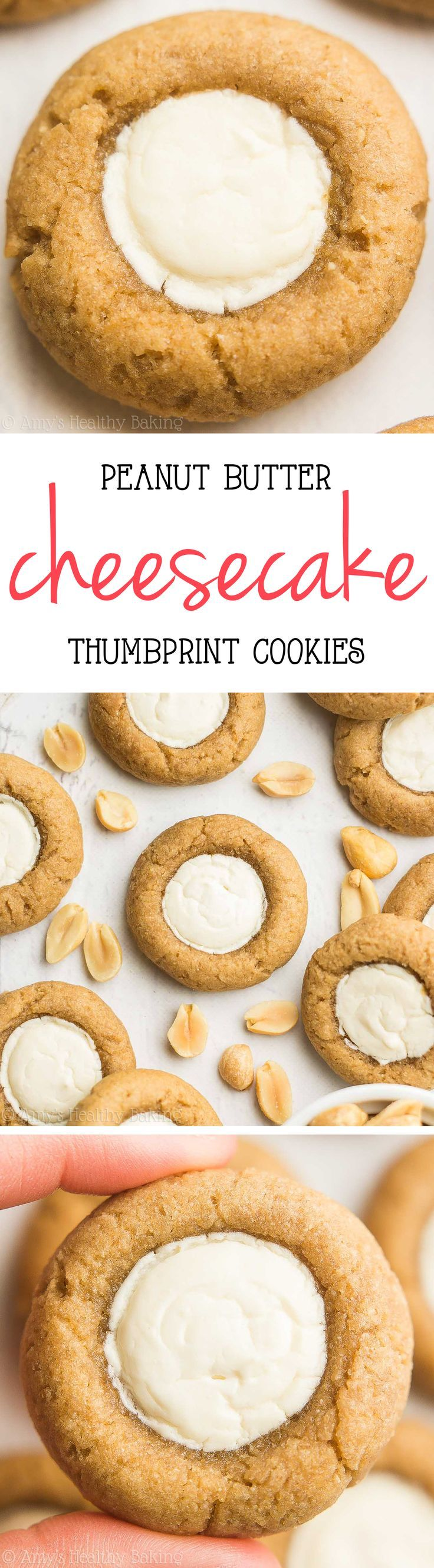 Skinny Peanut Butter Cheesecake Thumbprint Cookies -- this healthy recipe is… #Desserts #ShermanFinancialGroup