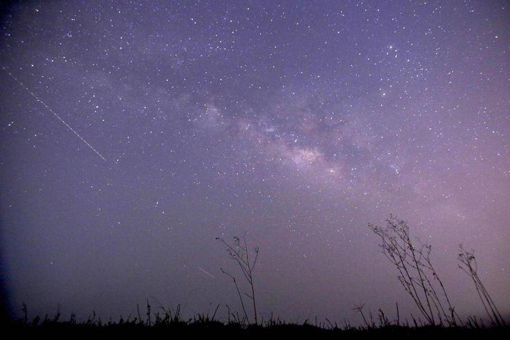 23. April 2015. Zeit der Sternschnuppen. Am klaren Himmel von Thanlyin, nahe Yangon, Burma, ist nicht nur die Milchstraße sondern auch ein Lyriden-Schauer zu sehen. Sie entstehen aus der Spur von Gesteinsbrocken und Staub, die ein Komet auf seiner Reise durch das Weltall hinterlassen hat.