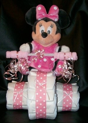 Tricycle Diaper Cake Disneys Minnie Mouse Baby Shower Centerpeice Baby Girl I want thia