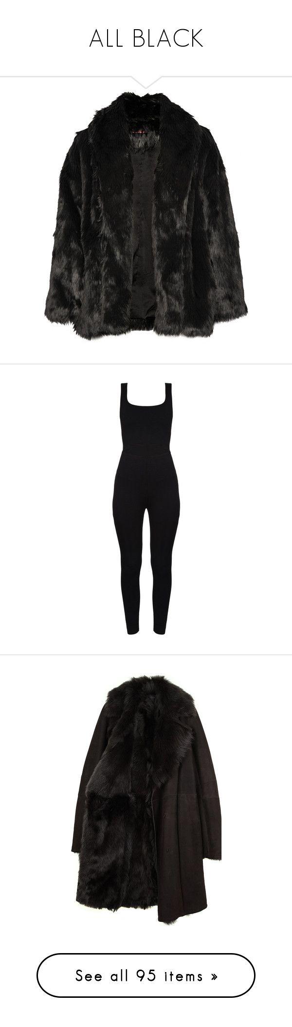 """ALL BLACK"" by neide-goncalvesbrito on Polyvore featuring outerwear, coats, jackets, coats & jackets, takit, black, imitation fur coats, oversized coat, faux fur coat et fake fur coats"