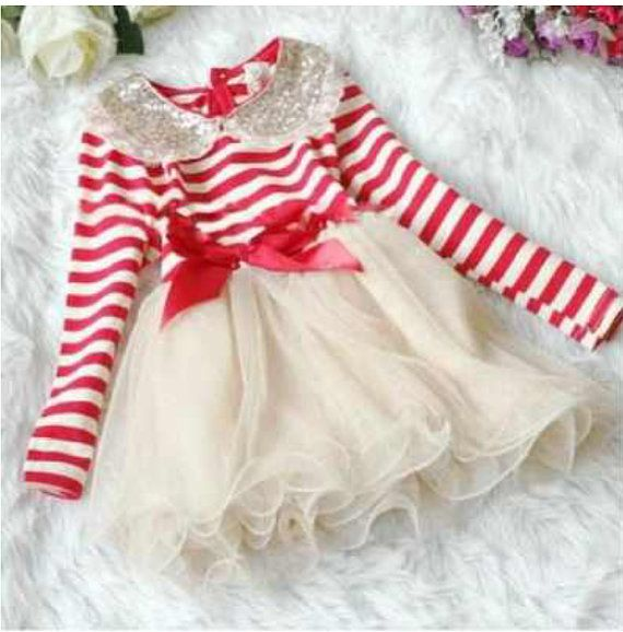 Girls Stripe Dress Red and White Dress for Girls by AJBPboutique, $28.99