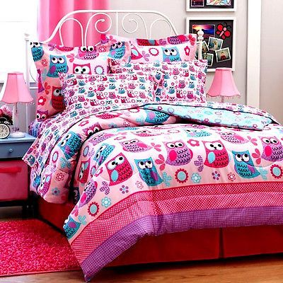 Girl Teen Pink Lavender OWL 6pc Twin Or 8pc Full Size Comforter Bed In A Bag Set