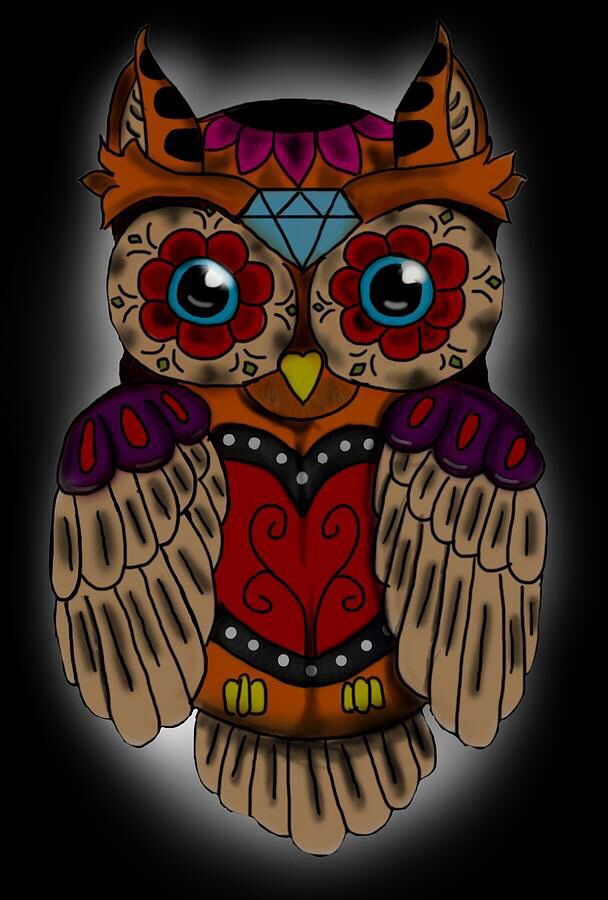 Sugar Skull Owl Canvas Print / Canvas Art by Niklas Bates