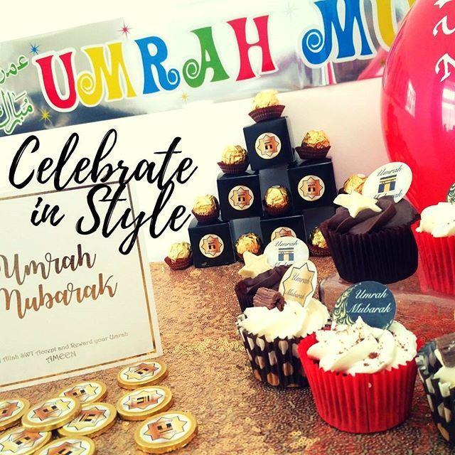 ✨Celebrate in Style✨✨ www.muslimstickers.com  #umrahmubarak #umrah #umrahcard #umrahgift #mubarak #muslim #islam #muslimgifts #mecca #cupcakes #islamiccard #🕋2017 #medina #chocolatecake #umra #umrah2017 #umrahmurah #halalf