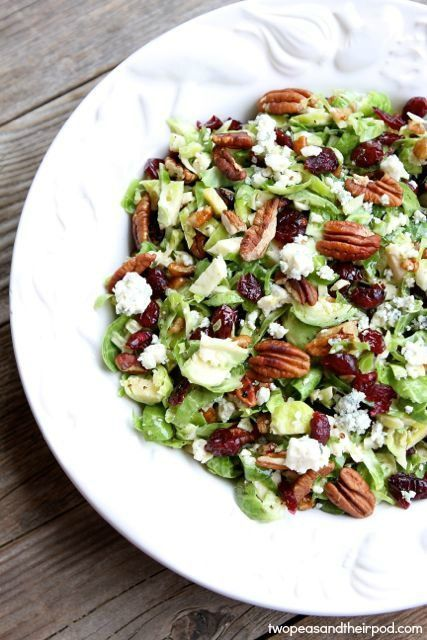 Chopped Brussels Sprouts with Dried Cranberries, Pecans & Blue Cheese from http://twopeasandtheirpod.com #recipe #vegetarian #glutenfree