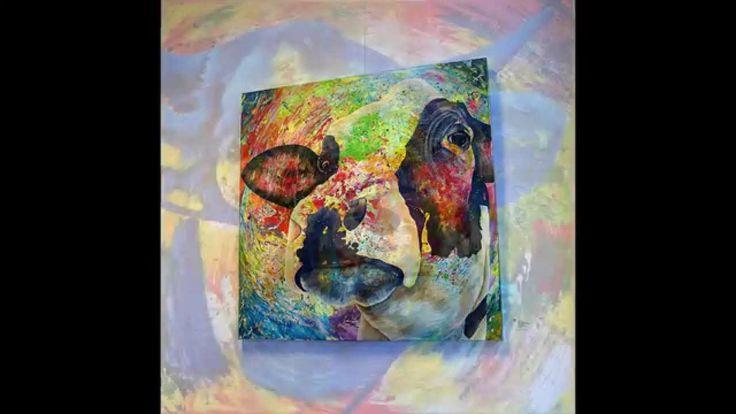 Unieke kleurrijke koeienschilderijen professioneel kunstenaar Anita Ammerlaan, bekijk het YouTubeFilmpje! Haar 'Lightscape-Cows' zijn schilderijen geworden met veel kleurschakeringen en reliëf in de achtergrond. De koe zelf wordt gedeeltelijk geschilderd maar is duidelijk herkenbaar.