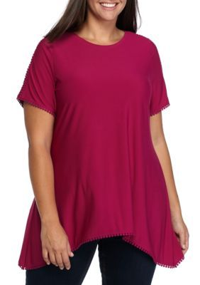 Grace Elements Women's Plus Size Short Sleeve Shark-Bite With Mesh Sleeve Top - Raspberry - 1X