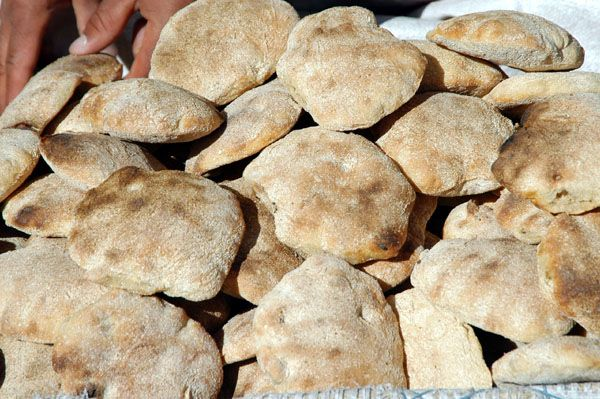The staple food of the Yemeni diet, khubz - or flat bread