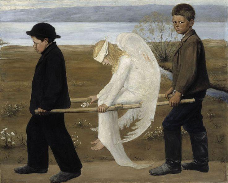 "The Wounded Angel - Hugo Simberg. - The Wounded Angel (Finnish: Haavoittunut enkeli) (1903) is a painting by Finnish symbolist painter Hugo Simberg. It is one of the most recognizable of Simberg's works, and was voted Finland's ""national painting"" in a vote held by the Ateneum art museum in 2006."
