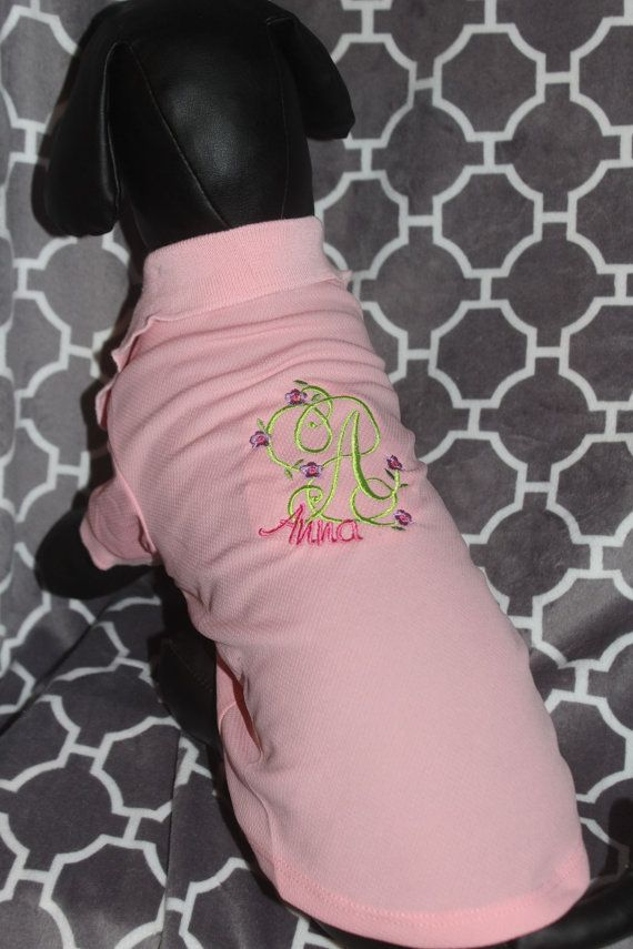 Pink Personalized Dog Sweater Polo Shirt Embroidery by ThreadyTEmb