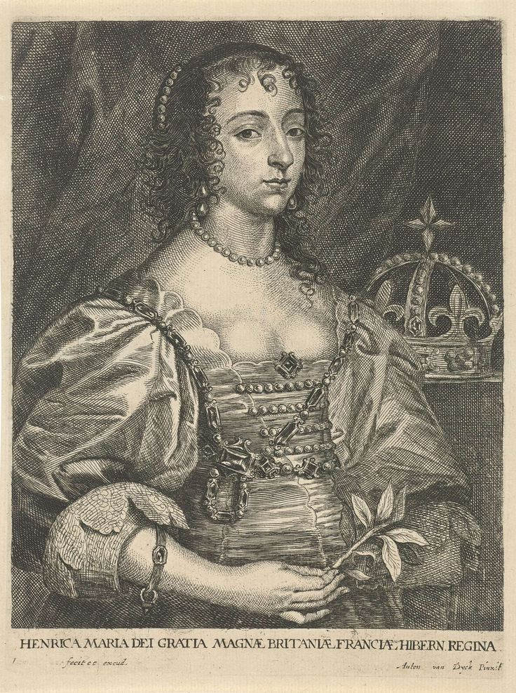Joannes Meyssens | Portret van Henrietta Maria van Bourbon, koningin van Engeland, Joannes Meyssens, 1640 - 1670 | Portret van Henrietta Maria van Bourbon, koningin van Engeland. In haar hand houdt zij een takje met bladeren. Rechts naast haar een kroon.