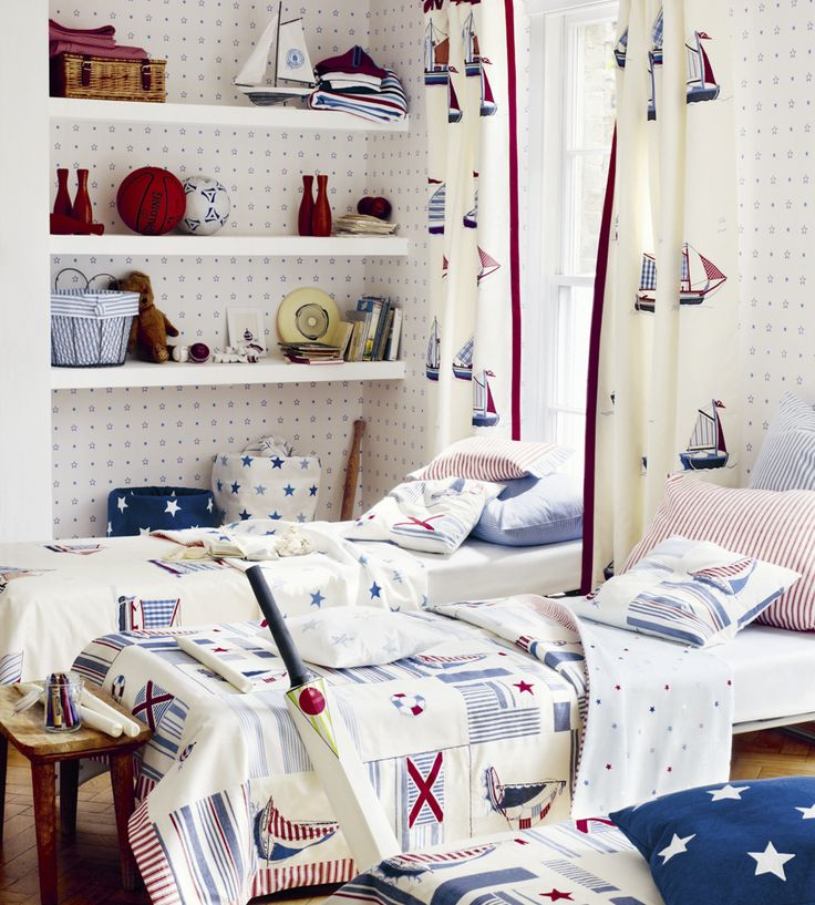 How To Style | Boys Rooms | Sailing Applique Fabric by Jane Churchill | Jane Clayton