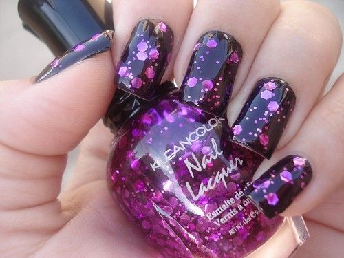 Kleancolor nails.Nails Art, Nails Design, Nailart, Nailpolish, Purple Glitter, Black Nails, Purple Nails, Glitter Nails, Nails Polish