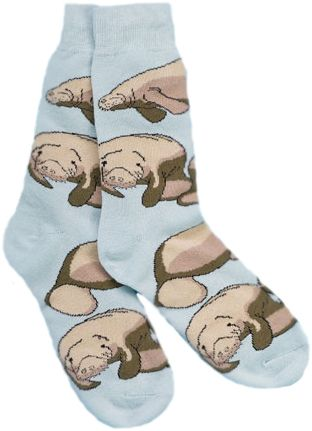 Top off any awesome outfit by rocking a pair of our pastel blue socks embellished by - what else? Manatees! Cool socks are in, don't be left out! They come in four different sizes, perfect for the whole family: A(1-3): Toddler B(4-7): Child C(9-11): Women D(11-13): Men