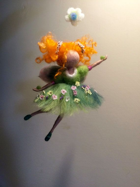 Needle felted fairy, Waldorf inspired, Wool green fairy, Four seasons,Spring, Home decor, Art doll, Doll miniature, Gift, Children room