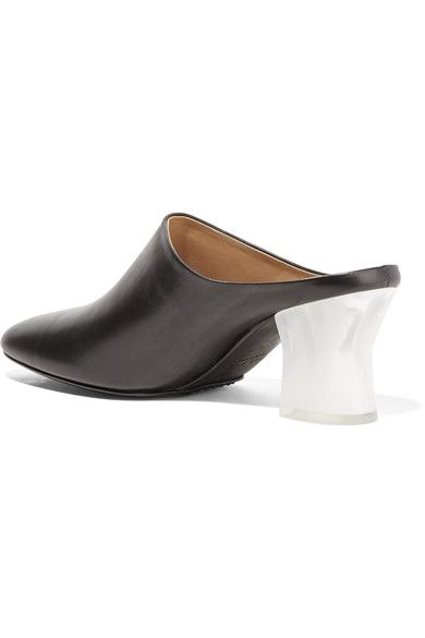 The Row - Adela Leather Mules - Black - IT35.5