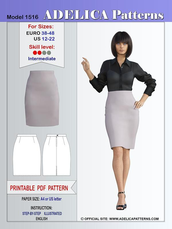 Adelica pattern 1516 Sewing pattern skirt