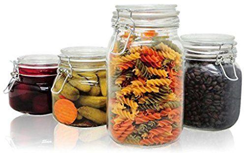 PriorityChef 4Piece Glass Storage Jars Perfect for Storing Coffee Sugar Flour or Sweets Keeps Bugs Out -- See this great product.