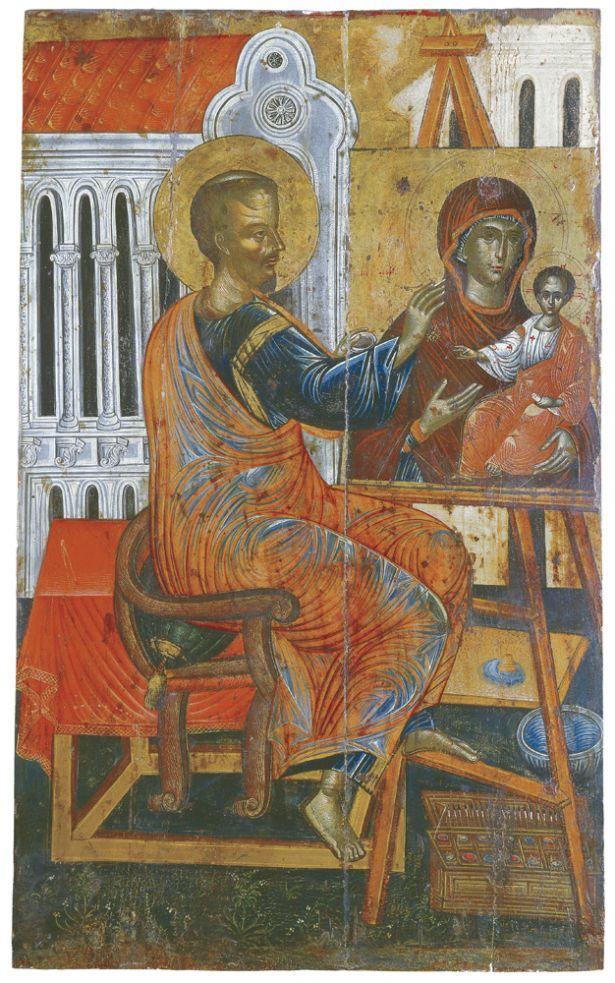 Ο Ευαγγελιστής Λουκάς ζωγραφίζει την εικόνα της Παναγίας.Αρχές 17ου αι.