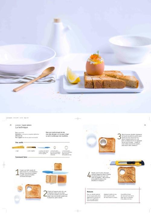 Oeuf coque: coquetier et mouillette dans une tranche de pain grillé