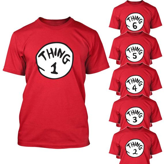 Thing 1 2 3 Tshirt Cat in the Hat Halloween Costume by NiftyShirts