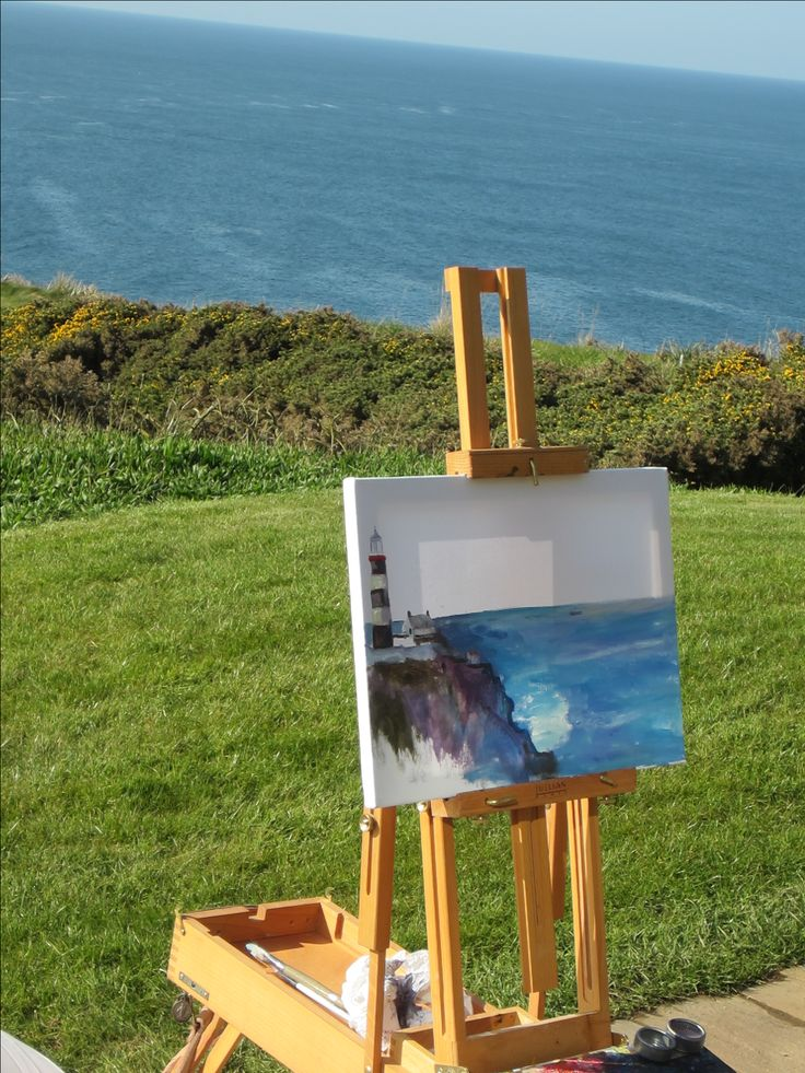 Helen painting en plein aire at Old Head Golf Course Kinsale 2016