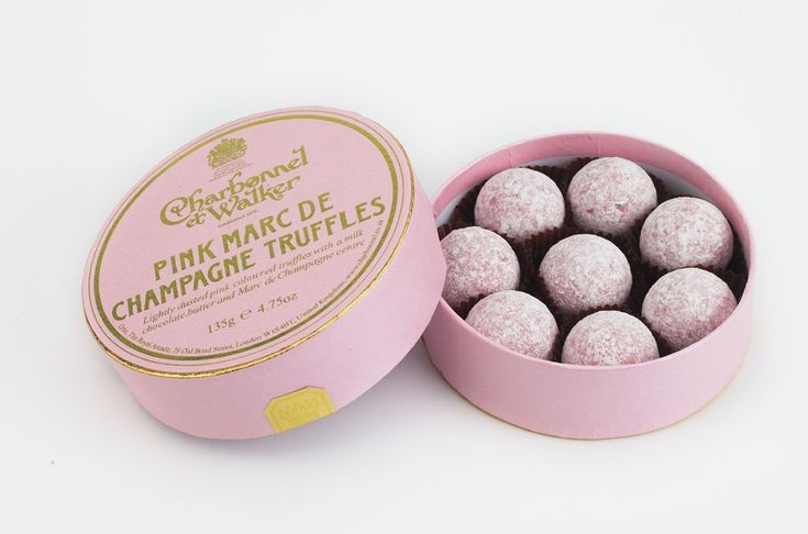 Love these! Pink chocolate truffles with a milk chocolate, buttery, Marc de Champagne center. Worth the splurge!