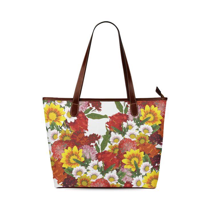 Posie of Flowers Shoulder Tote Bag (Model 1646)