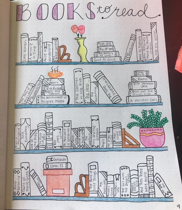 Books to read page design for journaling, bullet journal, books in a bookcase with tiles, color in when read